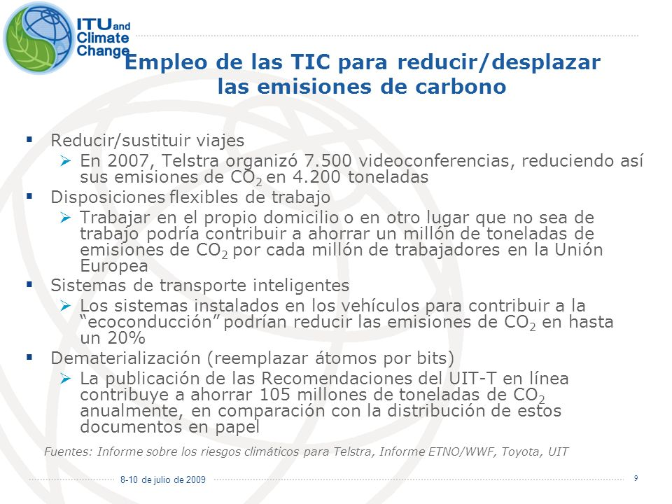 Empleo de las TIC para reducir/desplazar las emisiones de carbono