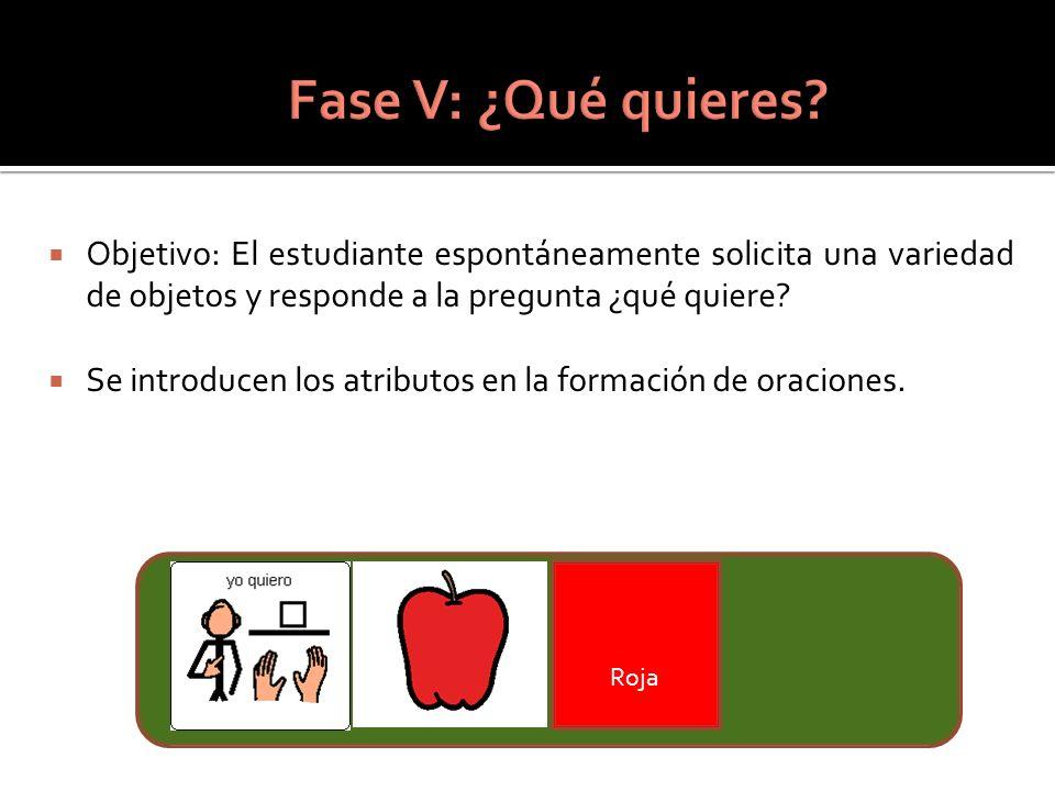 Fase V: ¿Qué quieres Objetivo: El estudiante espontáneamente solicita una variedad de objetos y responde a la pregunta ¿qué quiere