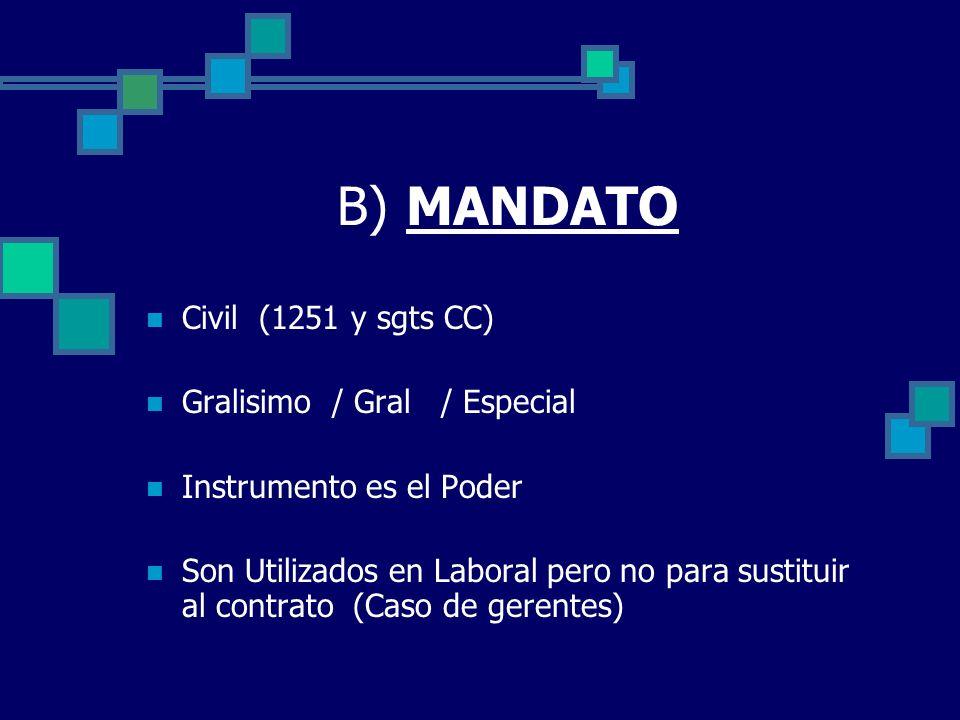 B) MANDATO Civil (1251 y sgts CC) Gralisimo / Gral / Especial