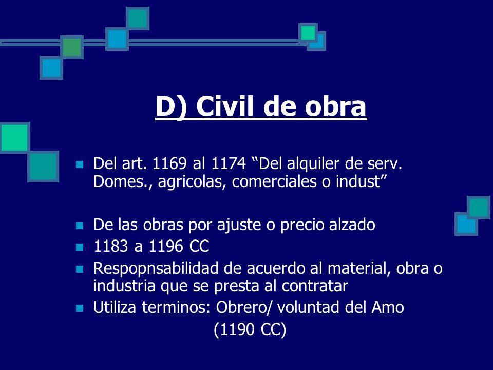 D) Civil de obra Del art. 1169 al 1174 Del alquiler de serv. Domes., agricolas, comerciales o indust