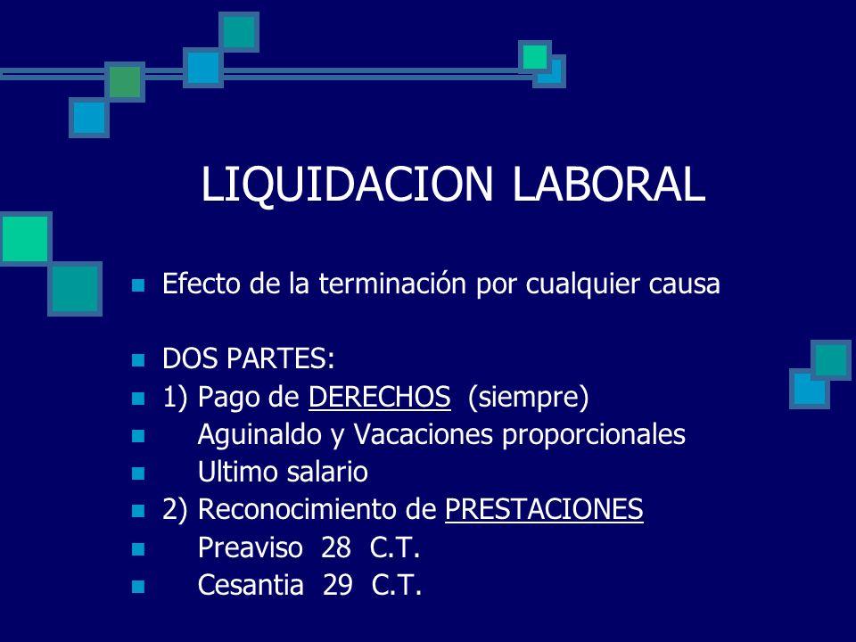 LIQUIDACION LABORAL Efecto de la terminación por cualquier causa