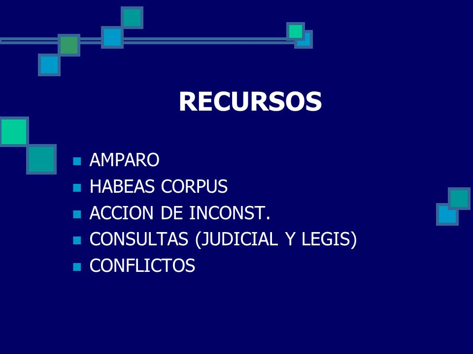 RECURSOS AMPARO HABEAS CORPUS ACCION DE INCONST.
