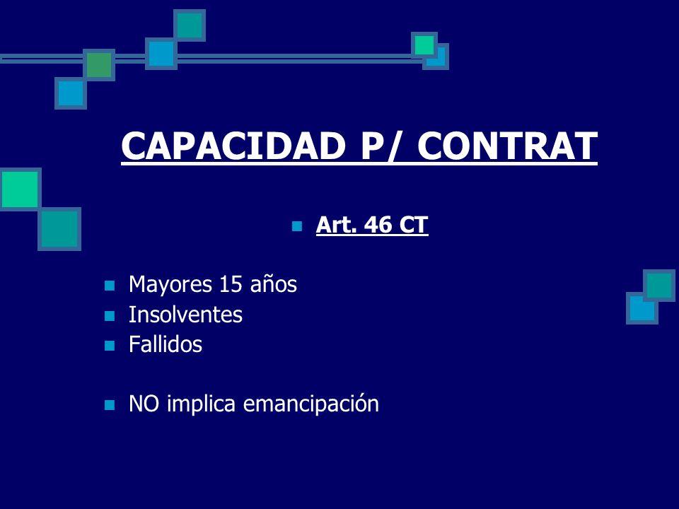 CAPACIDAD P/ CONTRAT Art. 46 CT Mayores 15 años Insolventes Fallidos