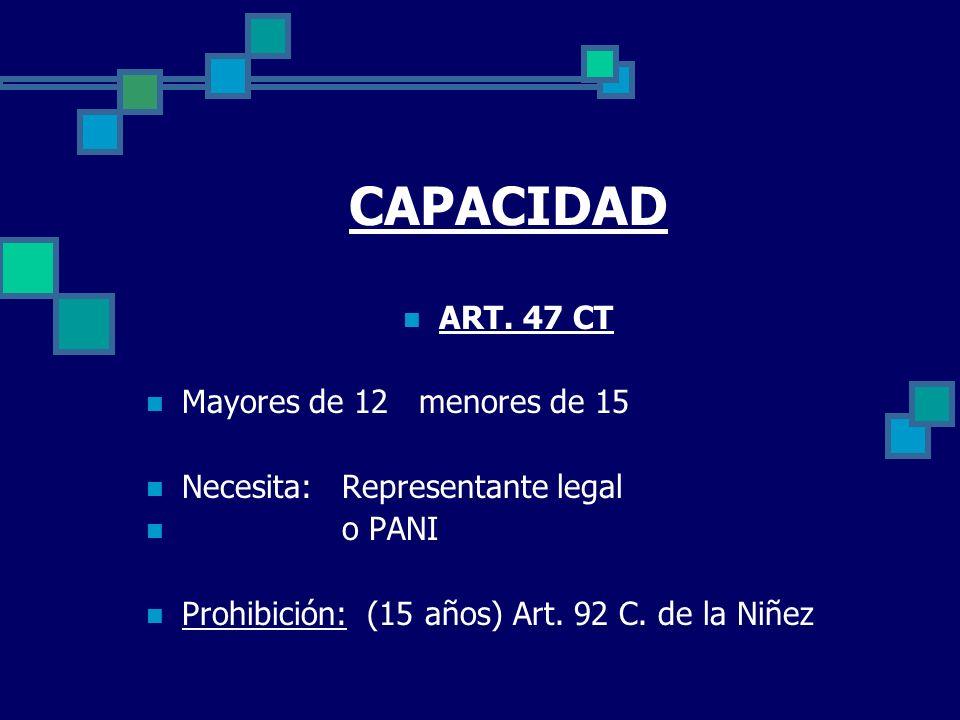 CAPACIDAD ART. 47 CT Mayores de 12 menores de 15