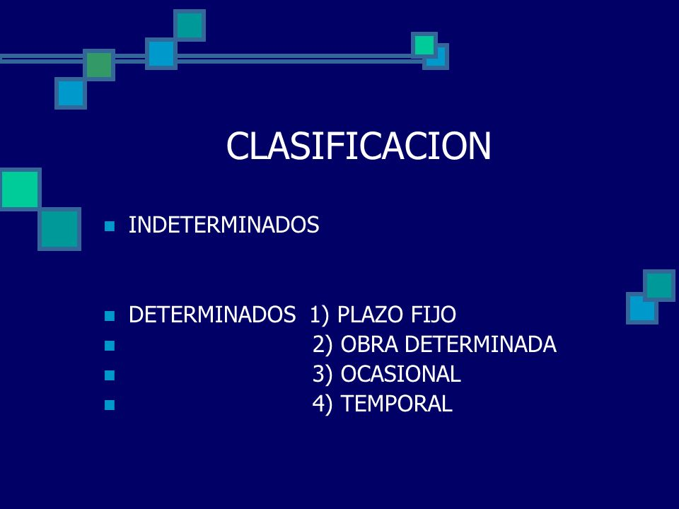 CLASIFICACION INDETERMINADOS DETERMINADOS 1) PLAZO FIJO