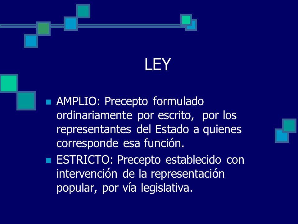 LEY AMPLIO: Precepto formulado ordinariamente por escrito, por los representantes del Estado a quienes corresponde esa función.