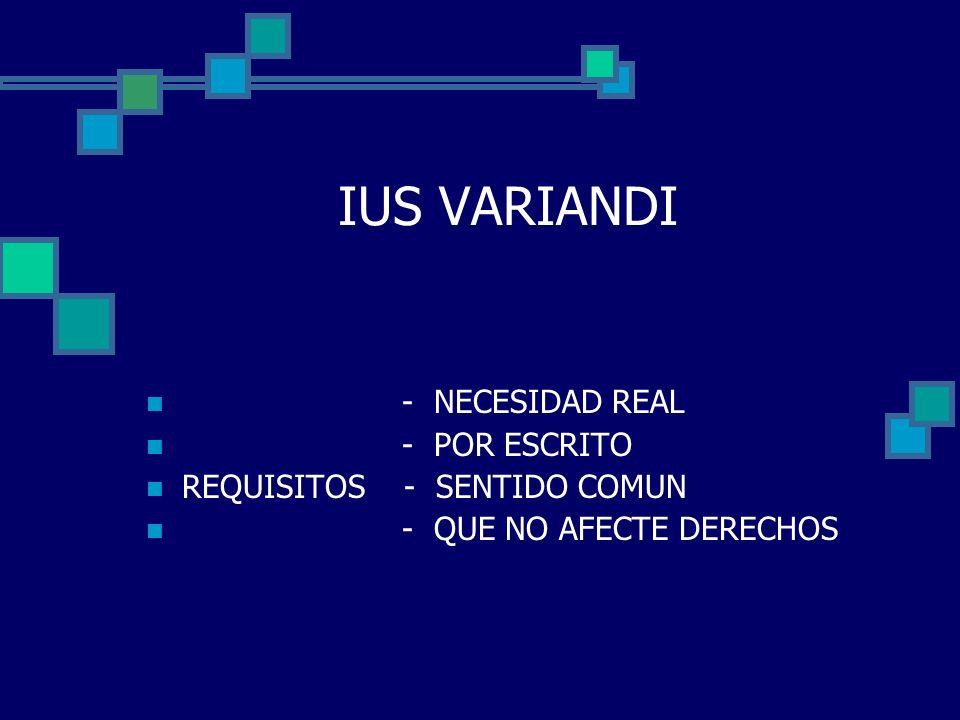IUS VARIANDI - NECESIDAD REAL - POR ESCRITO REQUISITOS - SENTIDO COMUN