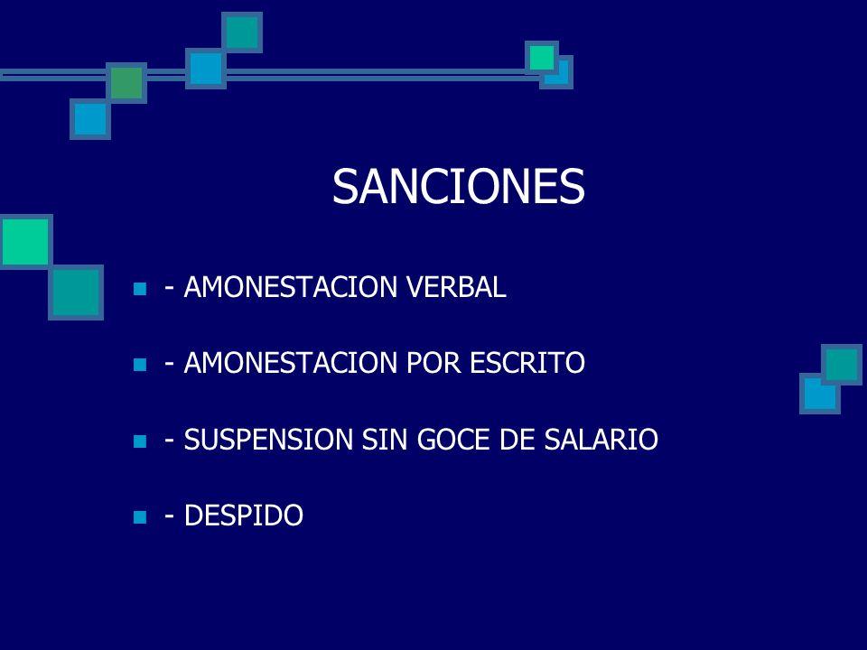 SANCIONES - AMONESTACION VERBAL - AMONESTACION POR ESCRITO