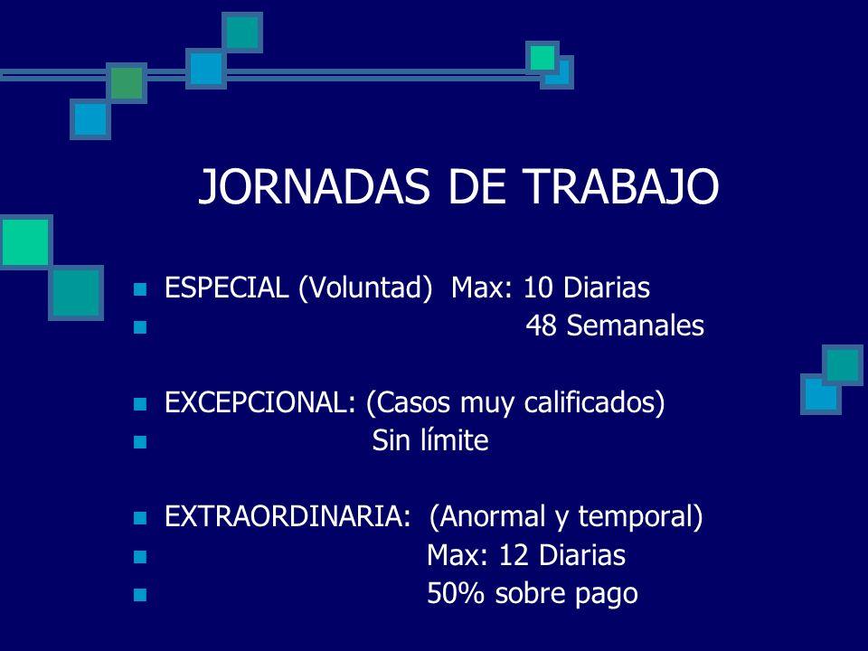 JORNADAS DE TRABAJO ESPECIAL (Voluntad) Max: 10 Diarias 48 Semanales
