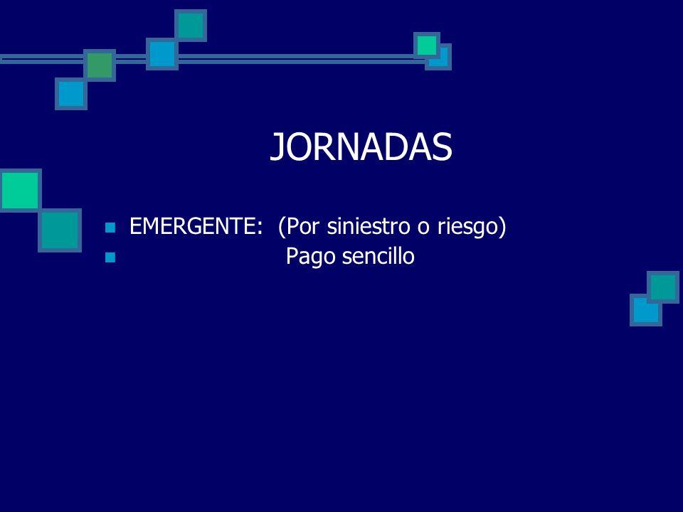 JORNADAS EMERGENTE: (Por siniestro o riesgo) Pago sencillo