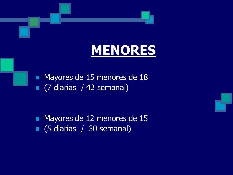 MENORES Mayores de 15 menores de 18 (7 diarias / 42 semanal)