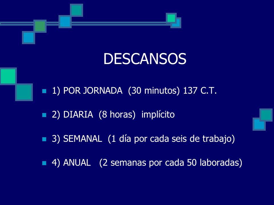DESCANSOS 1) POR JORNADA (30 minutos) 137 C.T.