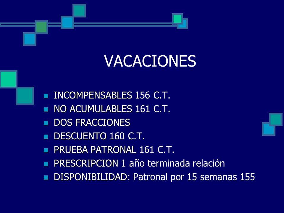 VACACIONES INCOMPENSABLES 156 C.T. NO ACUMULABLES 161 C.T.