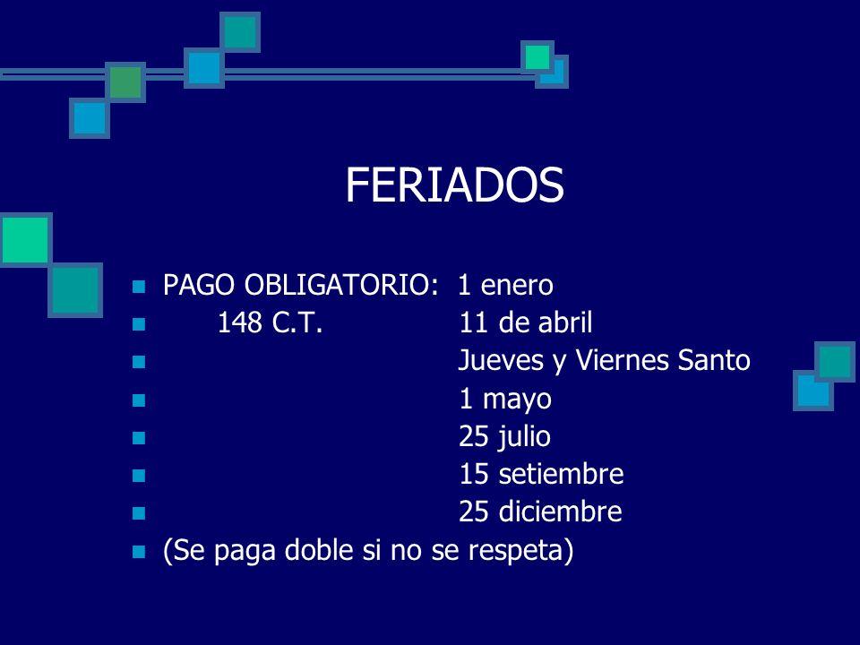 FERIADOS PAGO OBLIGATORIO: 1 enero 148 C.T. 11 de abril
