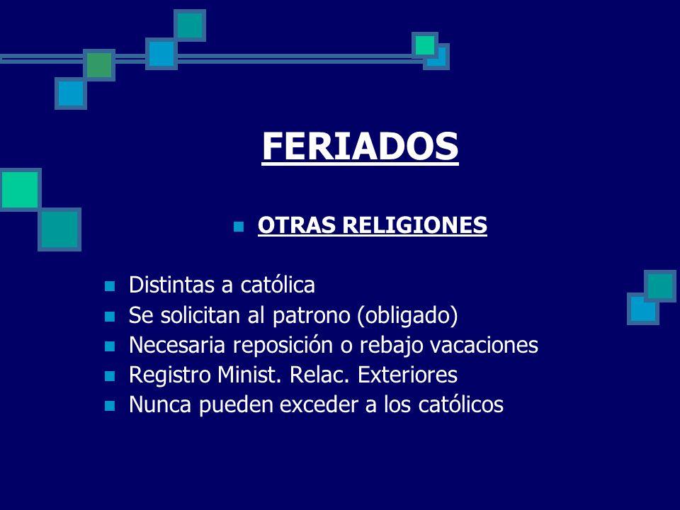 FERIADOS OTRAS RELIGIONES Distintas a católica
