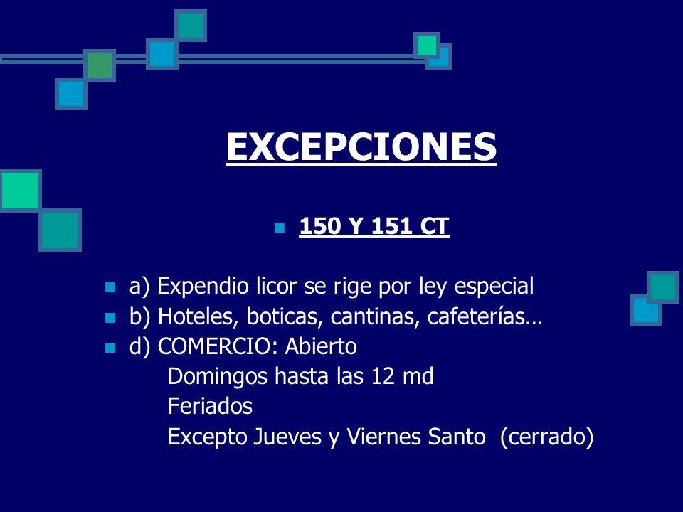 EXCEPCIONES 150 Y 151 CT a) Expendio licor se rige por ley especial