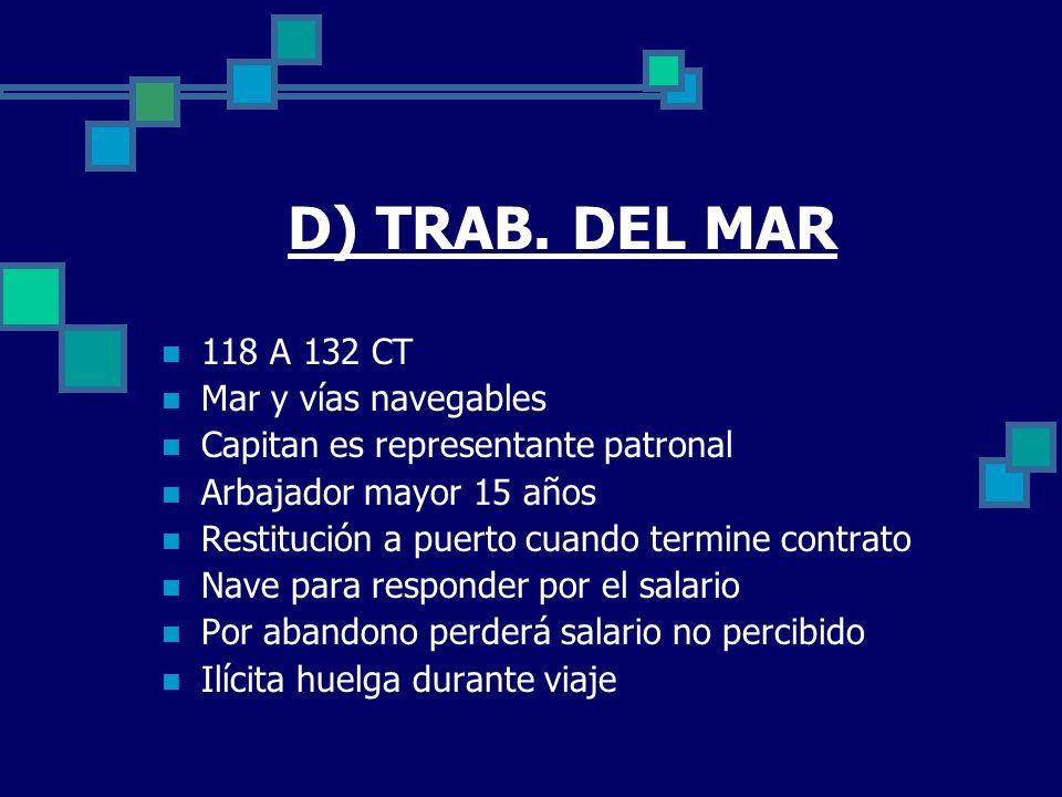 D) TRAB. DEL MAR 118 A 132 CT Mar y vías navegables