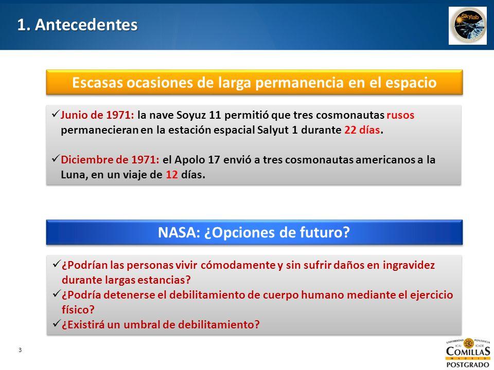 1. Antecedentes Escasas ocasiones de larga permanencia en el espacio