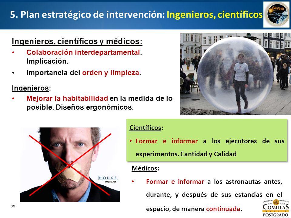 5. Plan estratégico de intervención: Ingenieros, científicos