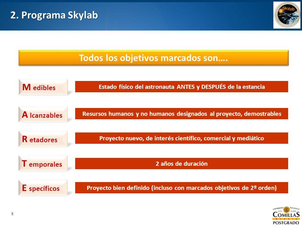 2. Programa Skylab Todos los objetivos marcados son…. M edibles