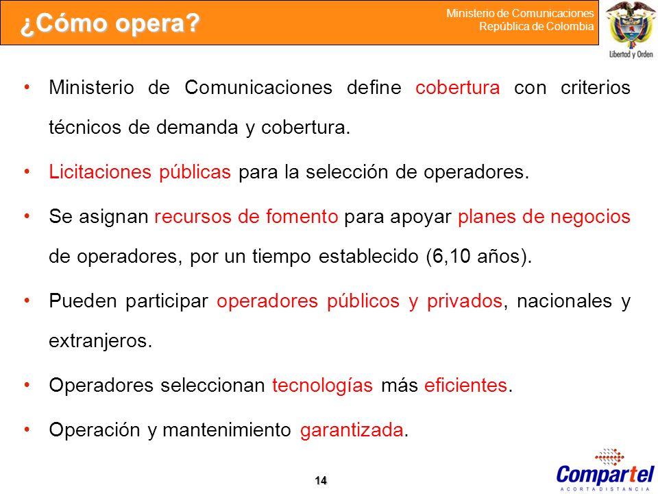 ¿Cómo opera Ministerio de Comunicaciones define cobertura con criterios técnicos de demanda y cobertura.