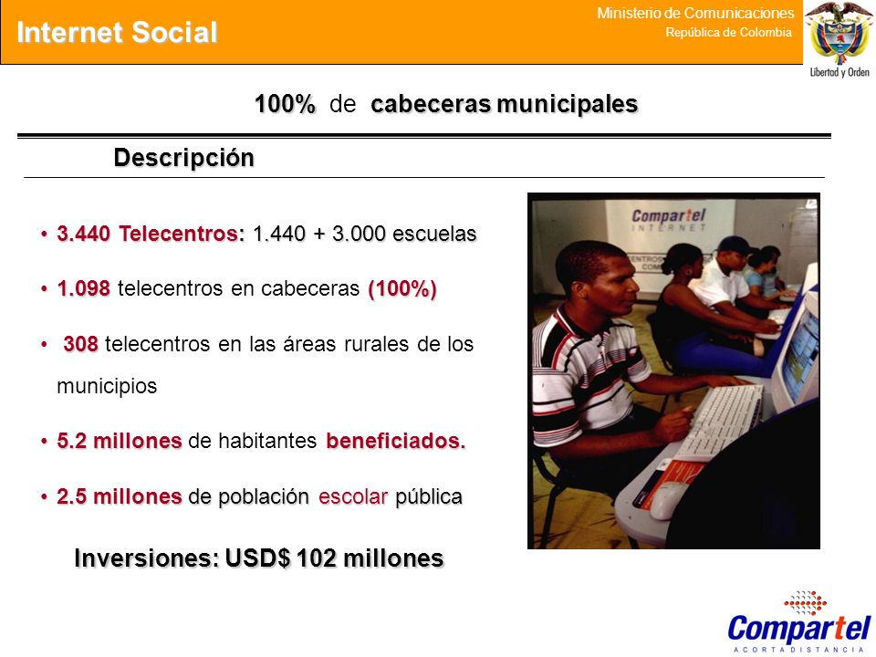 Internet Social 100% de cabeceras municipales Descripción