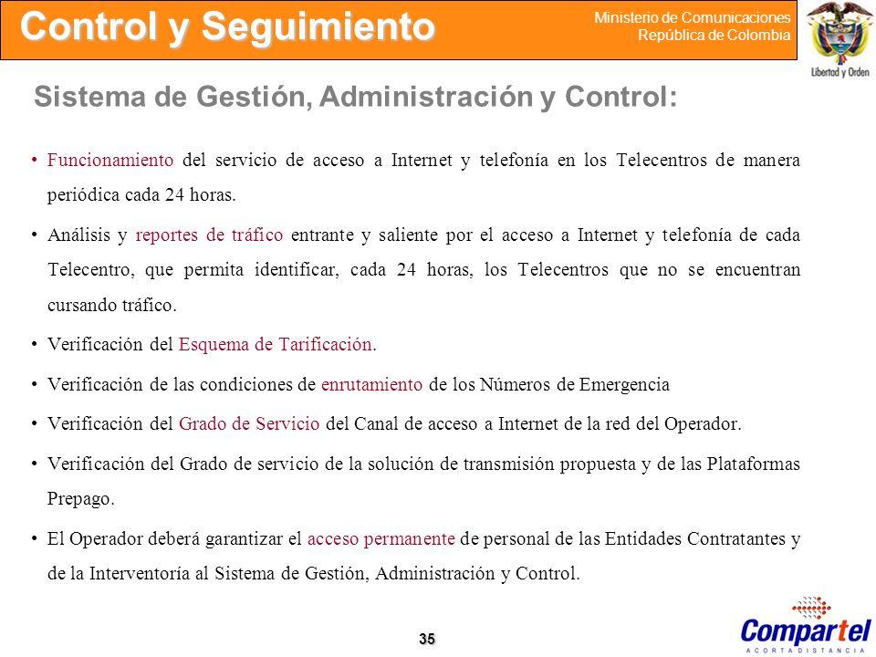 Control y Seguimiento Sistema de Gestión, Administración y Control: