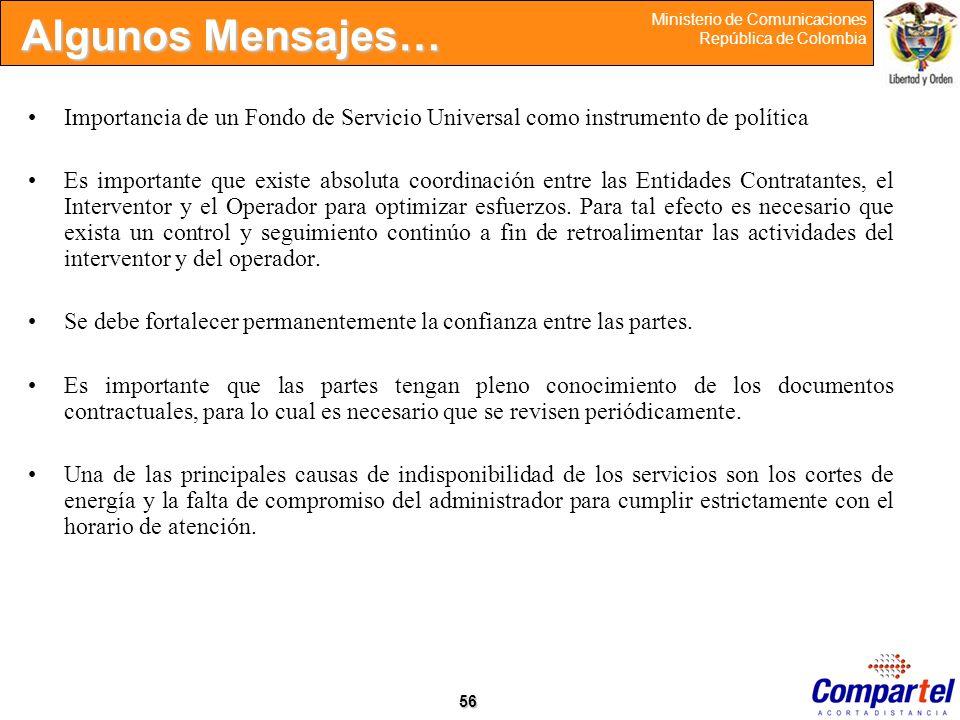 Algunos Mensajes… Importancia de un Fondo de Servicio Universal como instrumento de política.