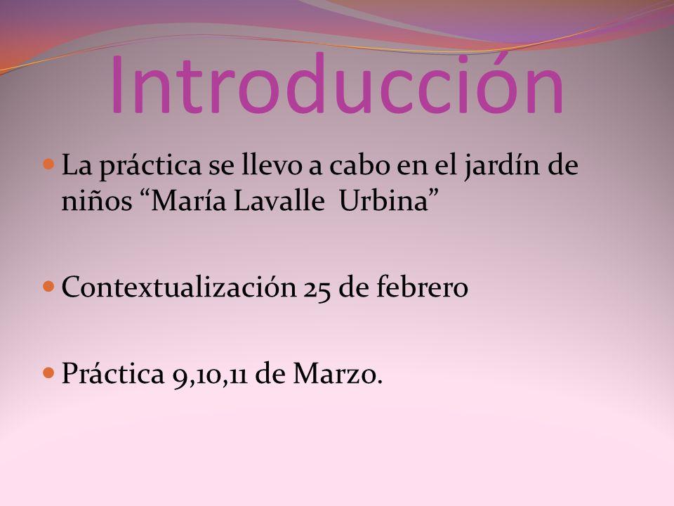 Introducción La práctica se llevo a cabo en el jardín de niños María Lavalle Urbina Contextualización 25 de febrero