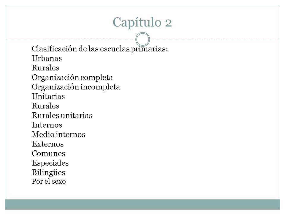 Capítulo 2 Clasificación de las escuelas primarias: Urbanas Rurales