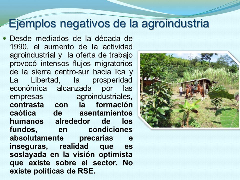 Ejemplos negativos de la agroindustria