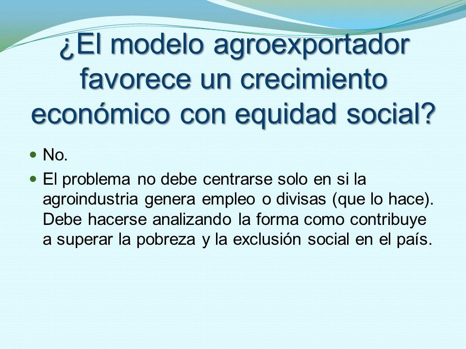 ¿El modelo agroexportador favorece un crecimiento económico con equidad social