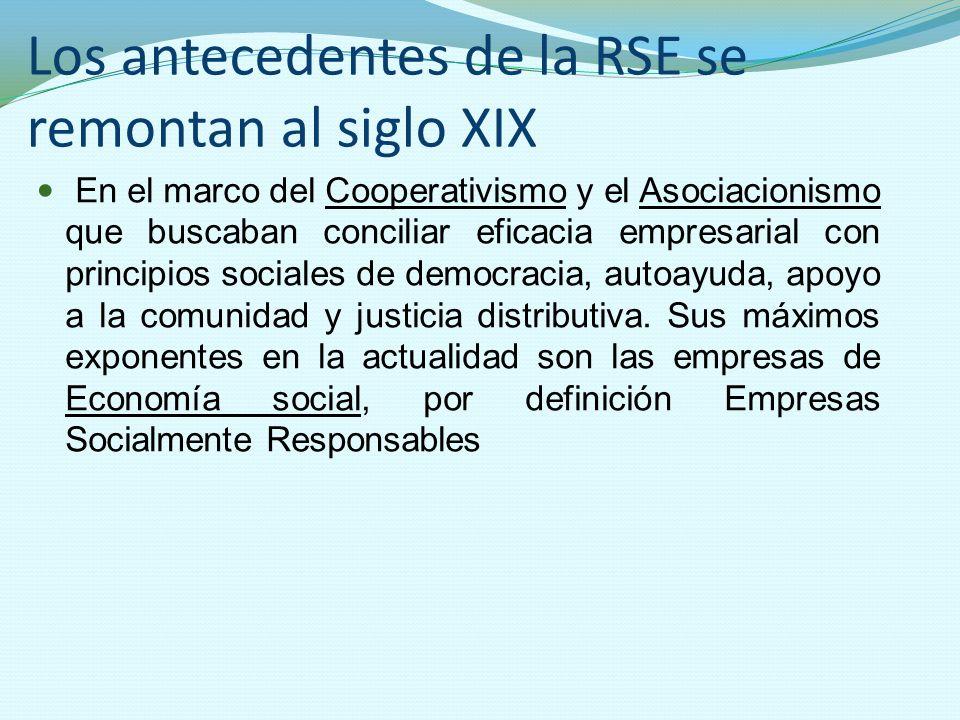 Los antecedentes de la RSE se remontan al siglo XIX