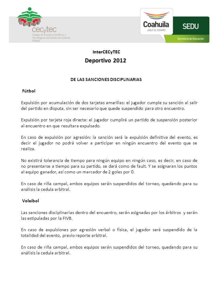 InterCECyTEC Deportivo 2012 DE LAS SANCIONES DISCIPLINARIAS Fútbol