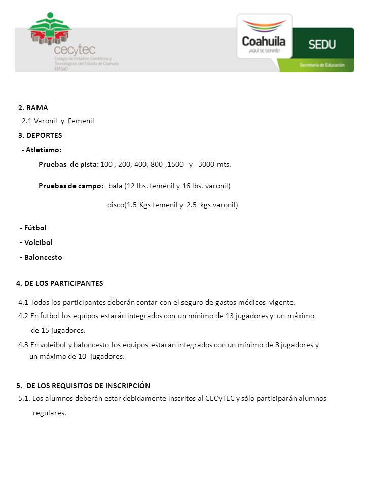 2. RAMA 2.1 Varonil y Femenil 3. DEPORTES - Atletismo: