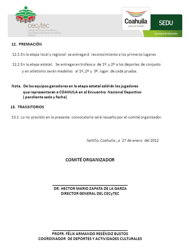 COMITÉ ORGANIZADOR 12. PREMIACIÓN