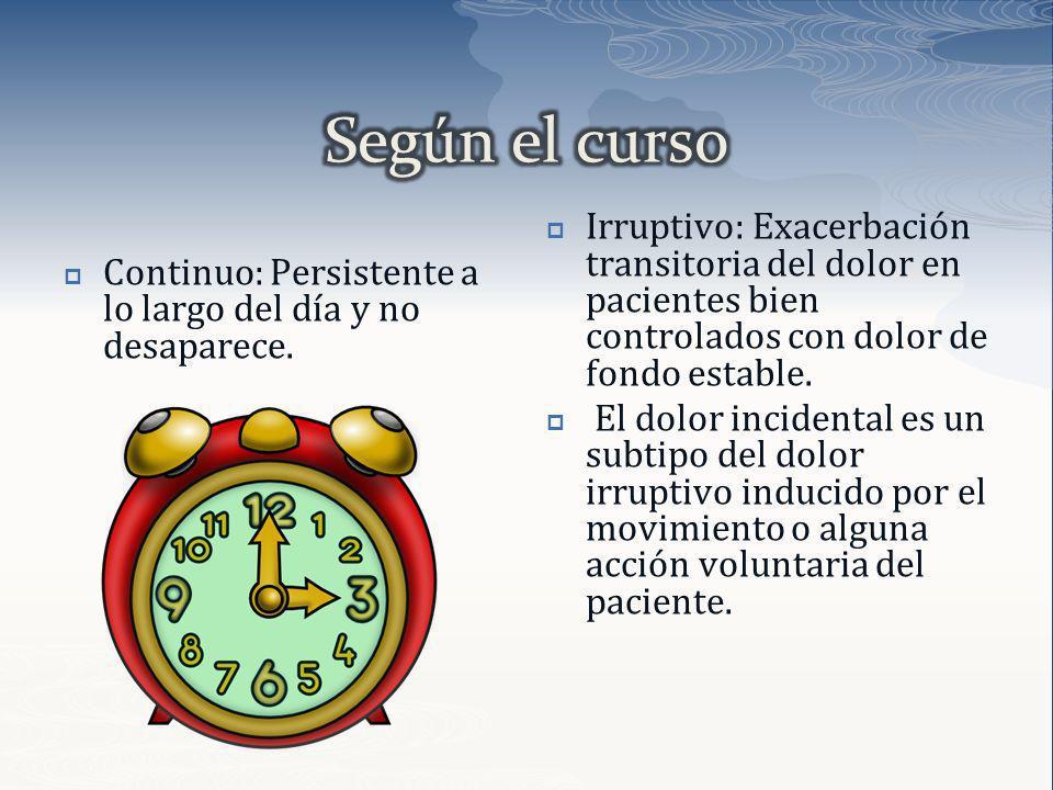 Según el curso Continuo: Persistente a lo largo del día y no desaparece.