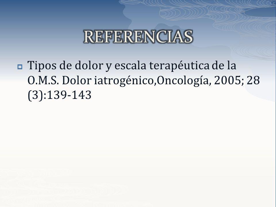 REFERENCIAS Tipos de dolor y escala terapéutica de la O.M.S.