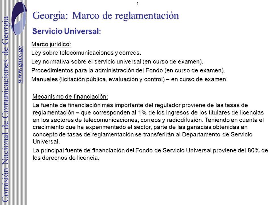 Georgia: Marco de reglamentación