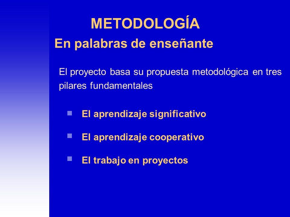 METODOLOGÍA En palabras de enseñante