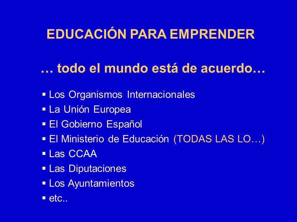 EDUCACIÓN PARA EMPRENDER … todo el mundo está de acuerdo…
