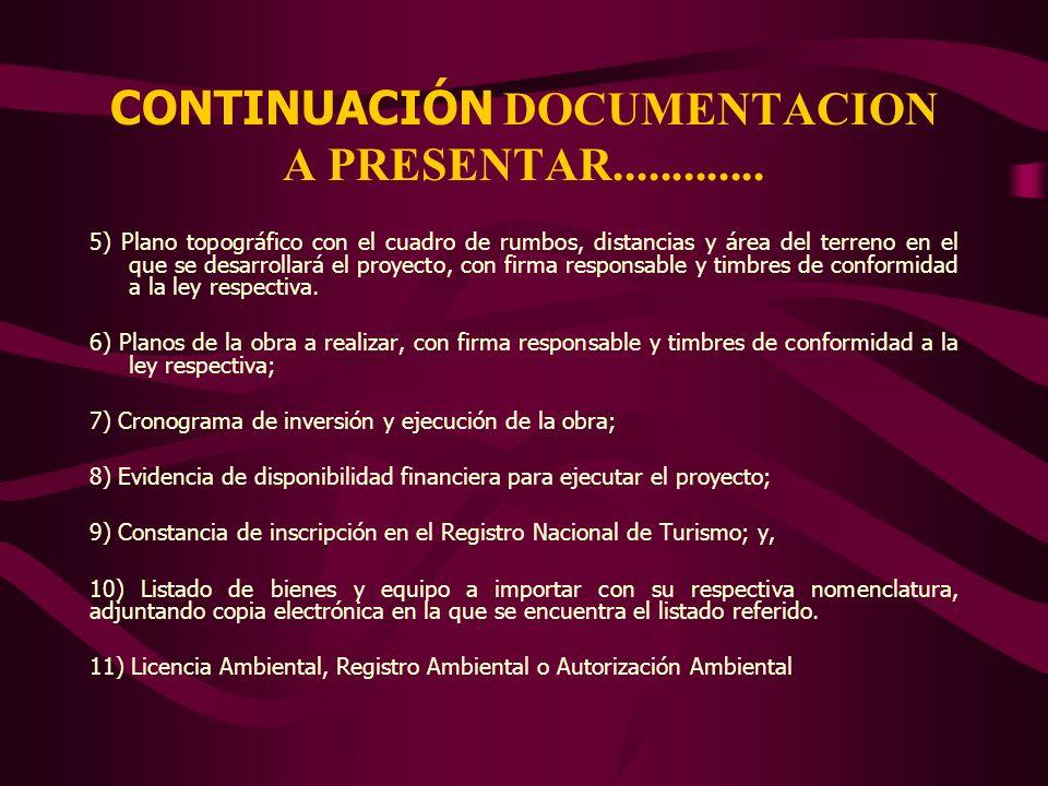 CONTINUACIÓN DOCUMENTACION A PRESENTAR.............