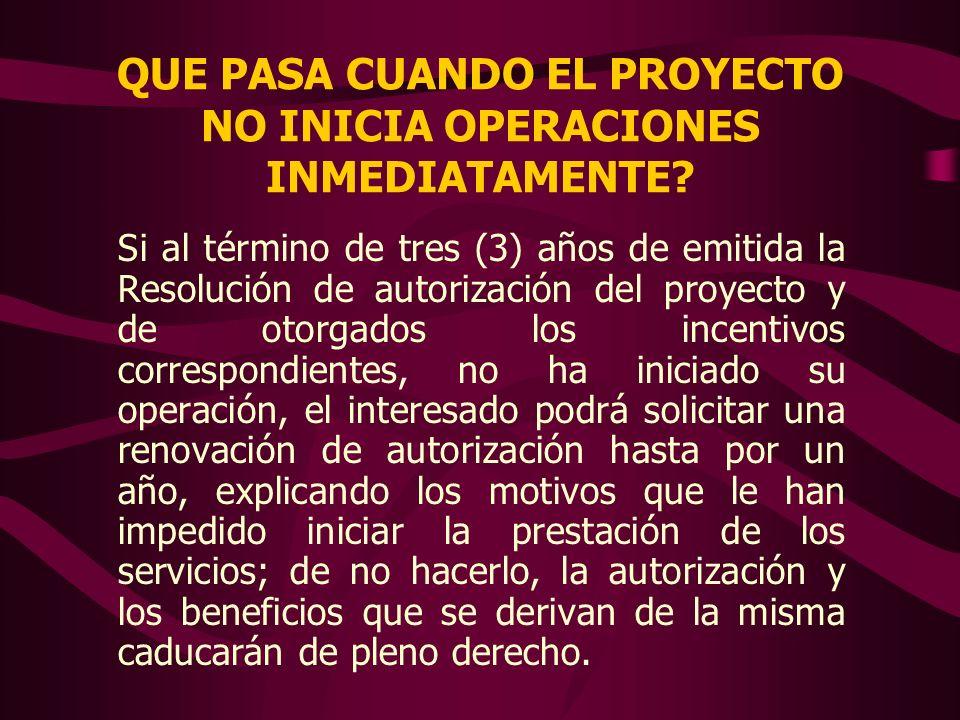 QUE PASA CUANDO EL PROYECTO NO INICIA OPERACIONES INMEDIATAMENTE