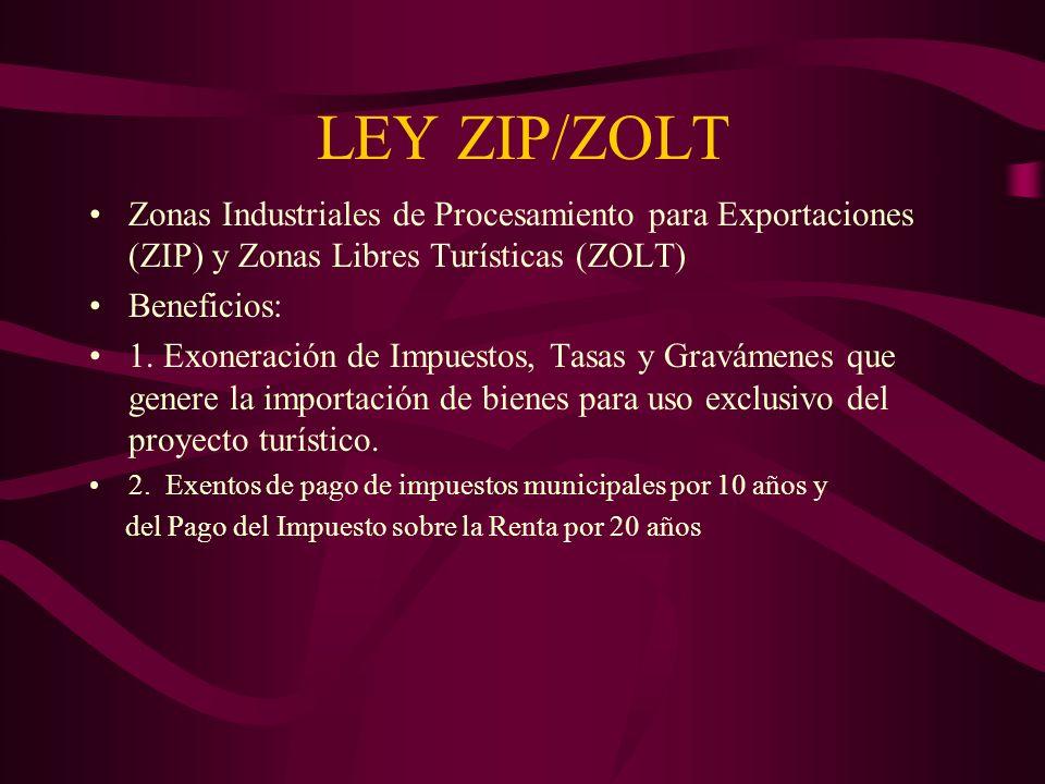 LEY ZIP/ZOLT Zonas Industriales de Procesamiento para Exportaciones (ZIP) y Zonas Libres Turísticas (ZOLT)