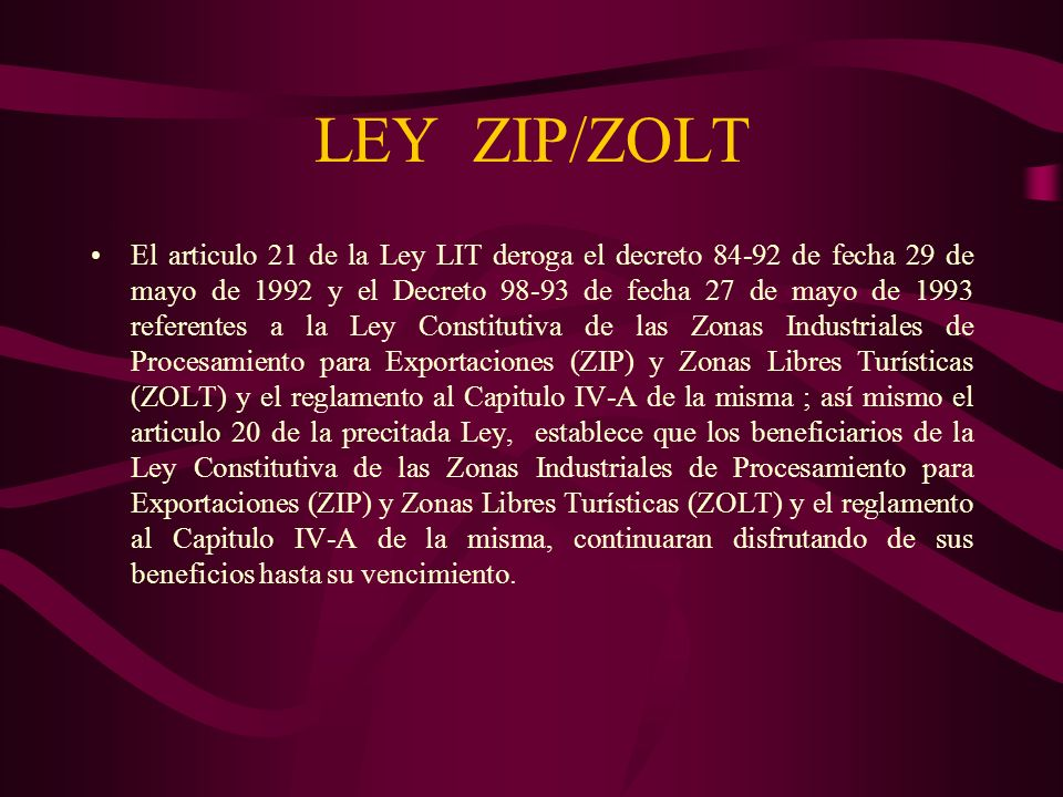 LEY ZIP/ZOLT