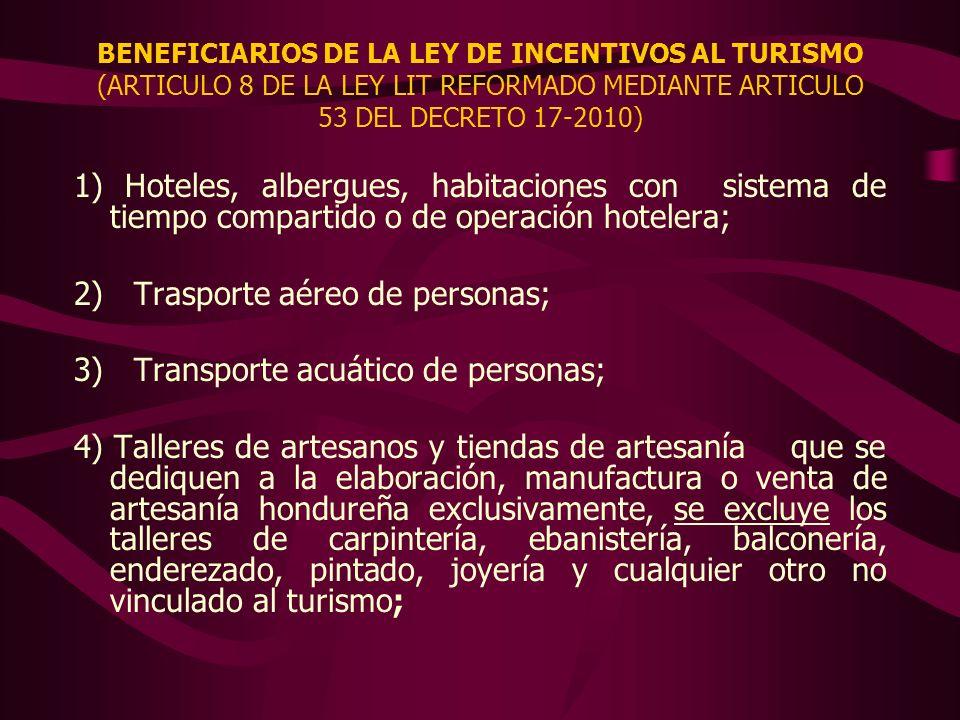 2) Trasporte aéreo de personas; 3) Transporte acuático de personas;
