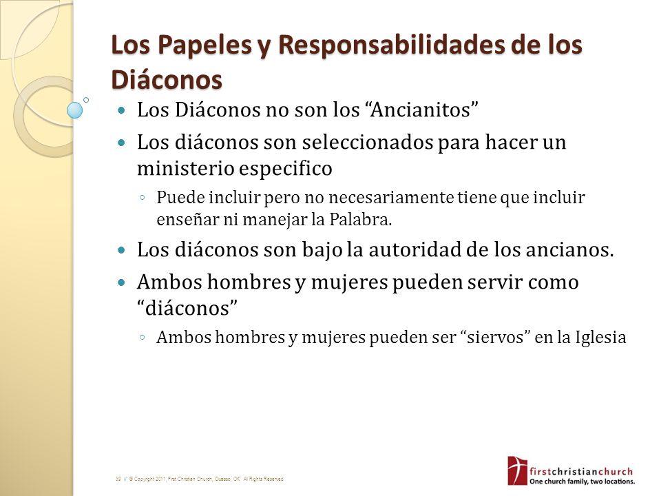 Los Papeles y Responsabilidades de los Diáconos