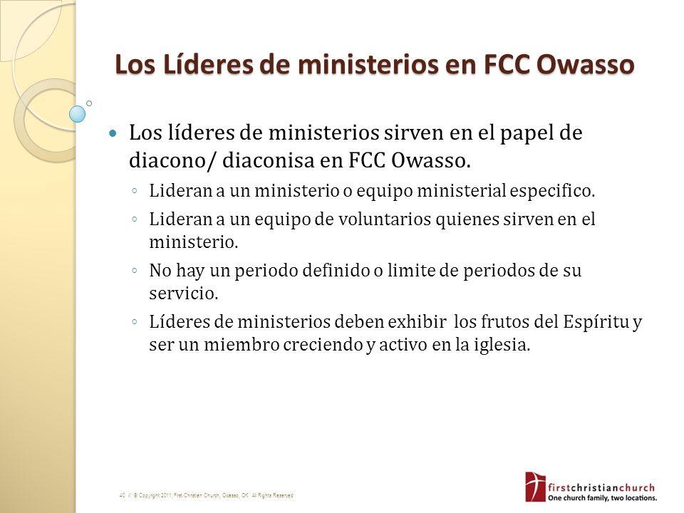 Los Líderes de ministerios en FCC Owasso