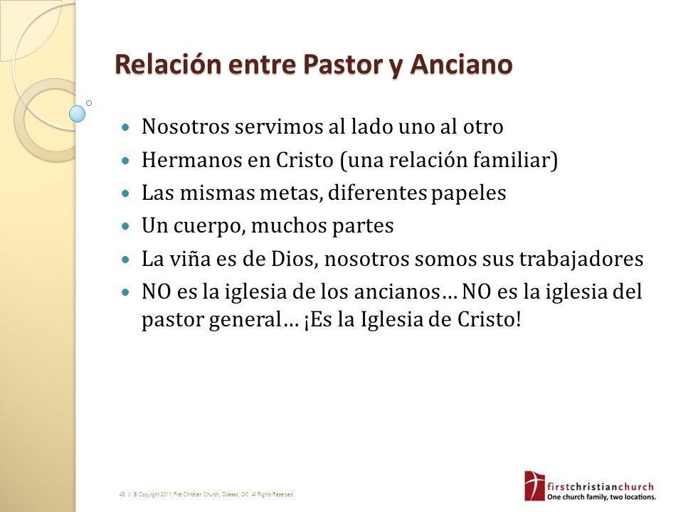Relación entre Pastor y Anciano