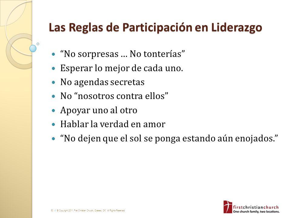 Las Reglas de Participación en Liderazgo